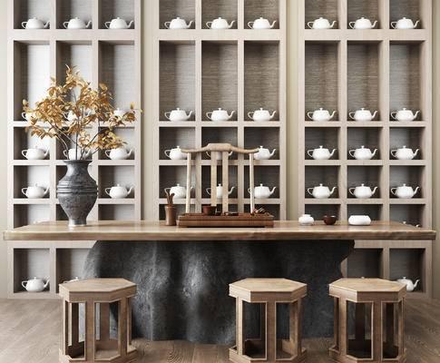 新中式茶桌, 茶具, 柜子, 盆栽, 矮凳, 椅子, 茶桌组合