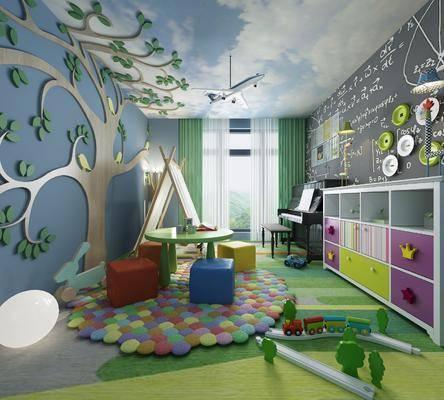 游玩室, 儿童房, 桌子, 钢琴, 凳子, 墙饰, 玩具, 装饰柜, 摆件, 装饰品, 陈设品, 现代
