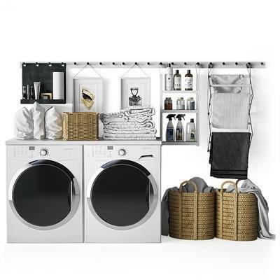 卫浴组合, 洗衣机, 篮子, 毛巾架, 日用品, 生活用品, 现代