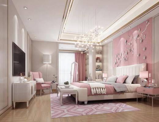 女儿房, 卧室, 双人床, 床头柜, 台灯, 墙饰, 床尾凳, 电视柜, 边柜, 落地灯, 单人沙发, 吊灯, 装饰镜, 花瓶花卉, 摆件, 装饰品, 陈设品, 现代