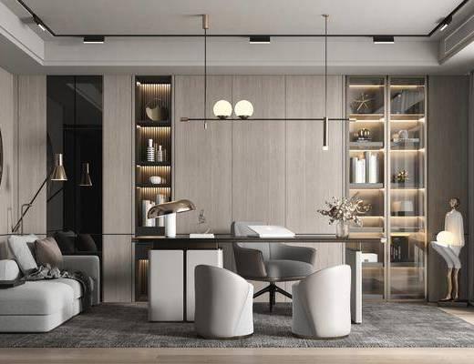 书桌, 吊灯, 沙发椅, 墙饰, 置物柜, 窗帘