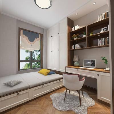 书房, 榻榻米, 书桌, 单人椅, 装饰柜, 书籍, 装饰品, 陈设品, 现代