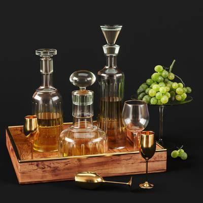 酒瓶, 酒杯, 摆件组合