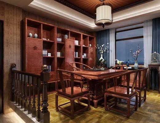 茶室, 中式茶室, 桌椅组合, 书柜, 摆件组合