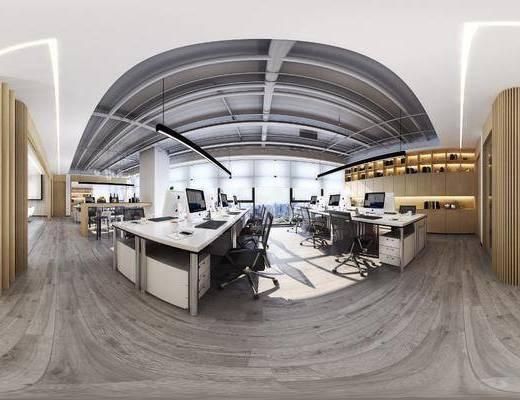 办公区, 工装全景, 办公桌椅组合, 电脑桌椅组合, 吧台椅组合, 装饰柜, 摆件组合, 吊灯组合, 现代