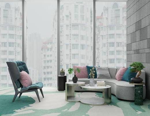 组合沙发, 弧形沙发, 组合茶几, 盆景, 休闲椅, 饰品, 现代