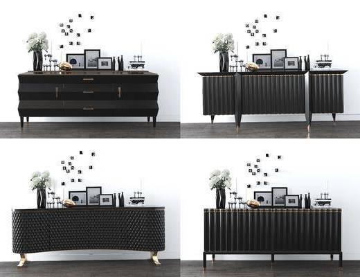 边柜, 摆件组合, 花瓶, 陈设品, 玄关柜, 后现代