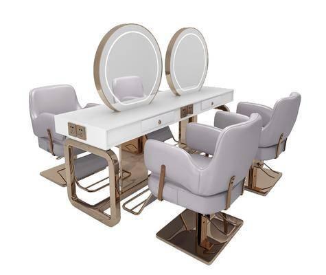 理发椅, 单椅, 摆件组合, 镜子