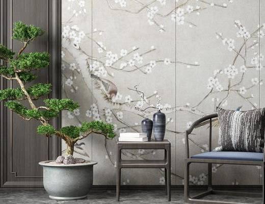 盆栽, 单椅, 背景墙, 植物