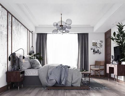 双人床, 电视柜, 吊灯, 墙饰, 单椅, 盆栽植物