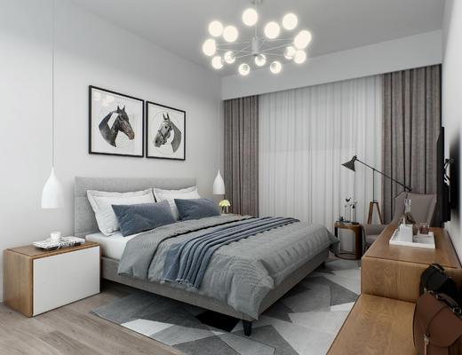 北欧卧室, 卧室, 床, 床头柜, 台灯, 装饰柜, 电视柜