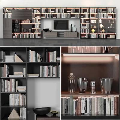 书籍, 书柜, 电视柜, 瓷器, 摆件, 装饰品, 现代, 陈设品, 摆设