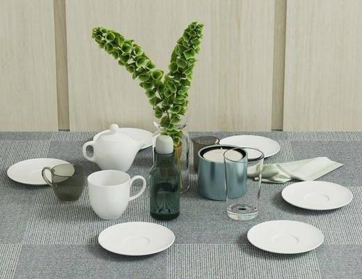 餐具, 现代餐具, 瓷器, 杯子, 器皿, 植物, 摆件, 现代