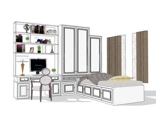 单人床, 桌椅组合, 书柜, 置物柜, 窗帘