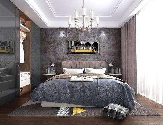 卧室, 双人床, 床头柜, 台灯, 装饰画, 挂画, 衣柜, 装饰柜, 服饰, 吊灯, 工业风