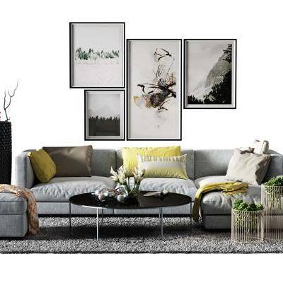 多人沙发, 布艺沙发, 沙发榻, 盆栽, 绿植, 装饰画, 北欧