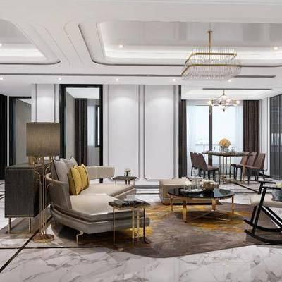 多人沙发, 沙发榻, 客厅, 装饰柜, 单人椅, 边柜, 餐桌, 餐椅, 摆件, 装饰画, 茶几, 现代