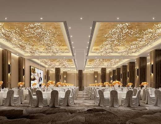 宴会厅, 桌椅组合, 吊灯, 餐具组合, 壁灯