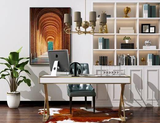 电脑桌椅, 金属吊灯, 书柜, 挂画, 装饰画, 绿植盆栽