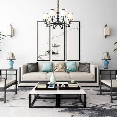 新中式沙發茶幾裝飾畫吊燈地毯組合, 新中式, 新中式沙發組合, 中式吊燈, 中式臺燈, 中式壁燈, 植物, 茶幾