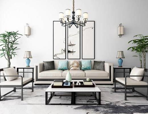 新中式沙发茶几装饰画吊灯地毯组合, 新中式, 新中式沙发组合, 中式吊灯, 中式台灯, 中式壁灯, 植物, 茶几
