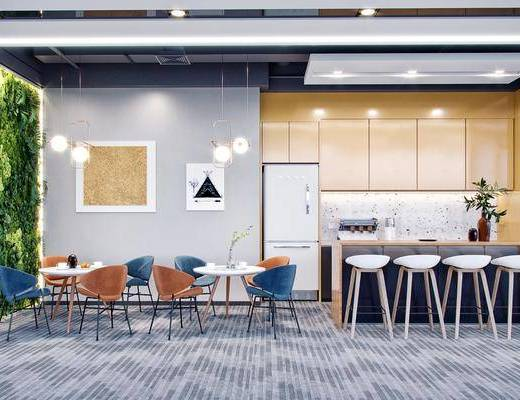 茶水间, 单椅, 吧台, 桌椅组合, 吊灯, 电器, 橱柜组合
