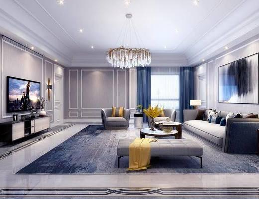 客厅, 多人沙发, 凳子, 单人沙发, 茶几, 摆件, 装饰品, 装饰画, 吊灯, 挂画, 边几, 台灯, 电视柜, 边柜, 壁灯, 欧式