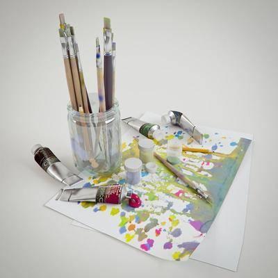 画笔, 颜料, 纸, 玻璃, 现代