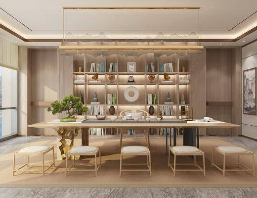 茶室, 茶桌, 单人椅, 装饰品, 陈设品, 装饰画, 挂画, 吊灯, 盆栽, 书籍, 新中式