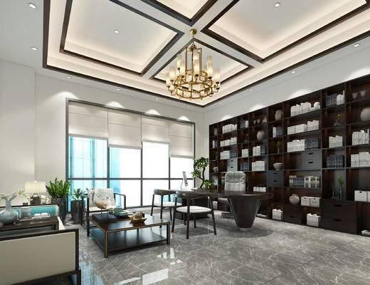 吊灯, 办公桌, 桌椅组合, 沙发组合, 书柜
