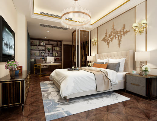 欧式, 双人床, 墙饰, 灯具