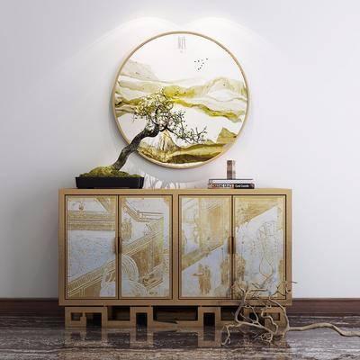 玄关柜, 电视柜, 端景台, 装饰画, 挂画, 盆栽, 绿植, 摆件, 装饰品, 陈设品, 花瓶摆件, 新中式