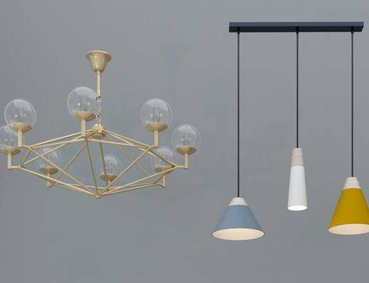 金属吊灯, 多头吊灯, 灯泡吊灯, 吊灯组合, 现代