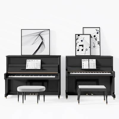 音乐器材, 乐器画具, 钢琴键, 钢琴凳, 现代