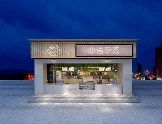 奶茶店, 门头, 现代奶茶店, 现代, 收银台