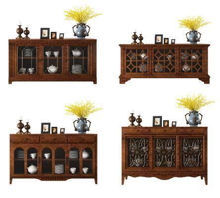 餐边柜, 边柜, 美式, 古典, 美式餐边柜, 花瓶, 花卉, 摆件, 装饰品
