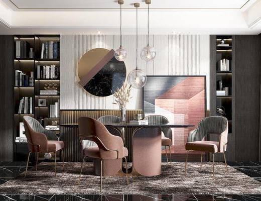 餐桌, 餐椅, 书柜, 吊灯, 挂件, 挂画, 装饰品
