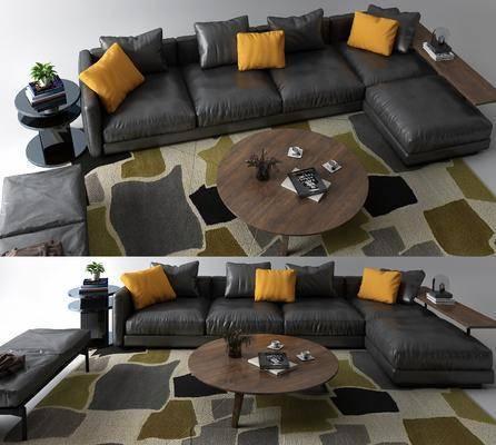 沙发组合, 茶几, 摆件组合, 现代沙发组合