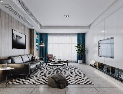 现代, 北欧, 客厅, 客餐厅, 餐厅, 沙发组合, 多人沙发, 休闲椅, 电视墙, 装饰画, 书柜, 置物柜, 餐桌椅, 花瓶, 冰箱