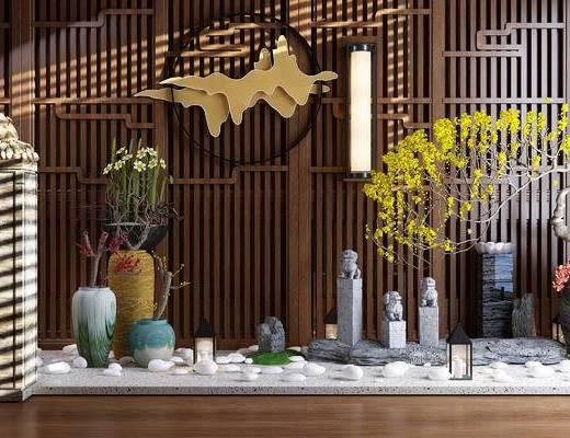 新中式, 园林, 植物, 盆栽, 石狮子, 摆件