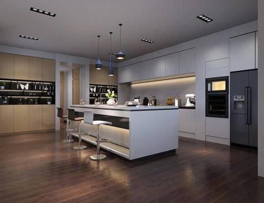 厨房, 吧台, 吧椅, 单人椅, 装饰柜, 橱柜, 厨具, 吊灯, 摆件, 装饰品, 陈设品, 现代