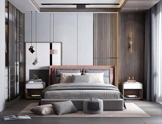 双人床, 壁灯, 装饰画, 床头柜, 衣柜