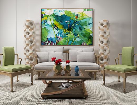 东南亚, 沙发茶几组合, 陈设品组合, 装饰画