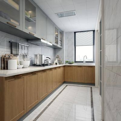 现代厨房, 现代, 厨房, 橱柜, 吊柜, 抽油烟机, 洗菜盆, 厨具