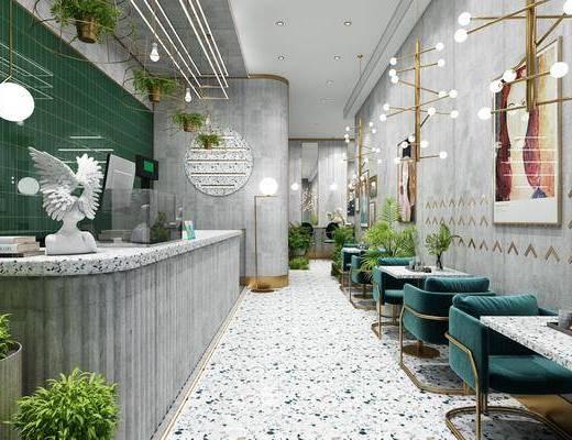 餐桌, 前台, 桌椅组合, 吊灯, 植物, 卡座
