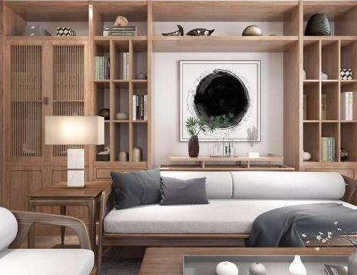 茶室, 多人沙发, 装饰柜, 茶桌, 单人椅, 凳子, 桌子, 装饰品, 陈设品, 墙饰, 边几, 新中式