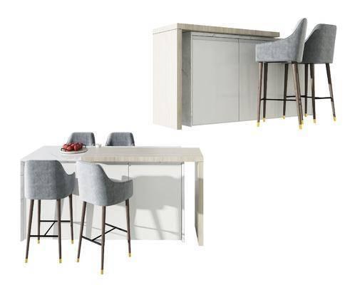 现代大理石木头吧台吧椅组合