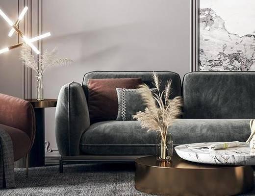 沙发组合, 吊灯, 单椅, 茶几, 装饰画, 摆件