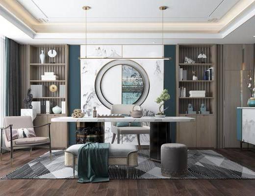 书桌, 桌椅组合, 墙饰, 书柜, 摆件, 单椅