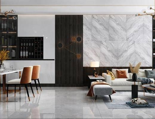 现代客餐厅, 客厅, 餐厅, 沙发组合, 沙发茶几组合, 餐桌椅组合, 餐具组合, 摆件组合, 吊灯组合, 现代